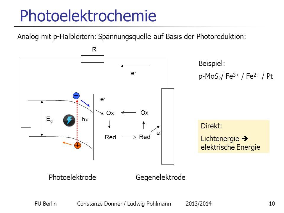 FU Berlin Constanze Donner / Ludwig Pohlmann 2013/201410 Photoelektrochemie Analog mit p-Halbleitern: Spannungsquelle auf Basis der Photoreduktion: Be