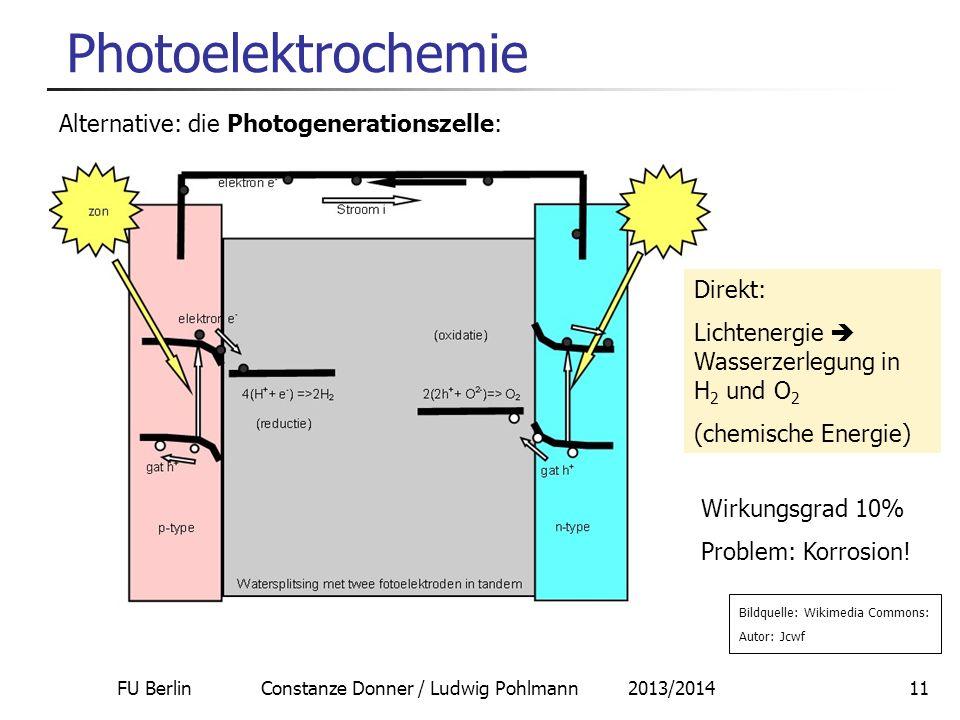 FU Berlin Constanze Donner / Ludwig Pohlmann 2013/201411 Photoelektrochemie Alternative: die Photogenerationszelle: Bildquelle: Wikimedia Commons: Aut