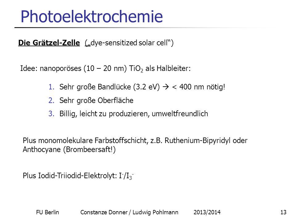 FU Berlin Constanze Donner / Ludwig Pohlmann 2013/201413 Photoelektrochemie Die Grätzel-Zelle (dye-sensitized solar cell) Idee: nanoporöses (10 – 20 n