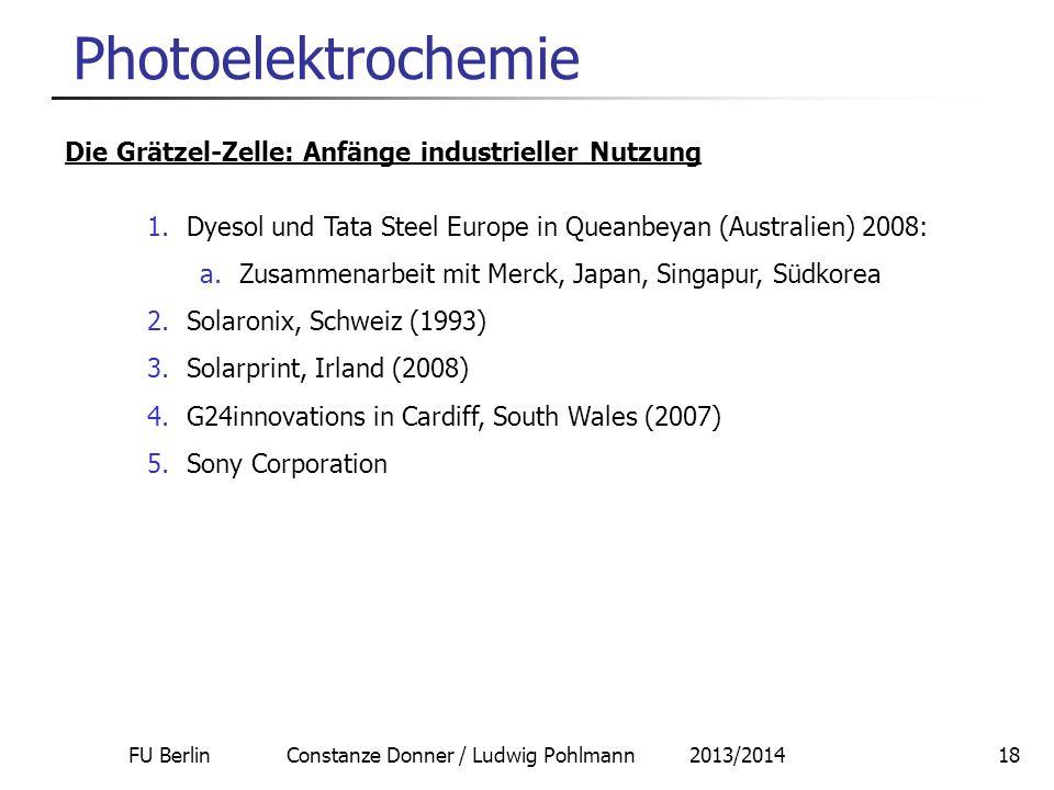 FU Berlin Constanze Donner / Ludwig Pohlmann 2013/201418 Photoelektrochemie Die Grätzel-Zelle: Anfänge industrieller Nutzung 1.Dyesol und Tata Steel E