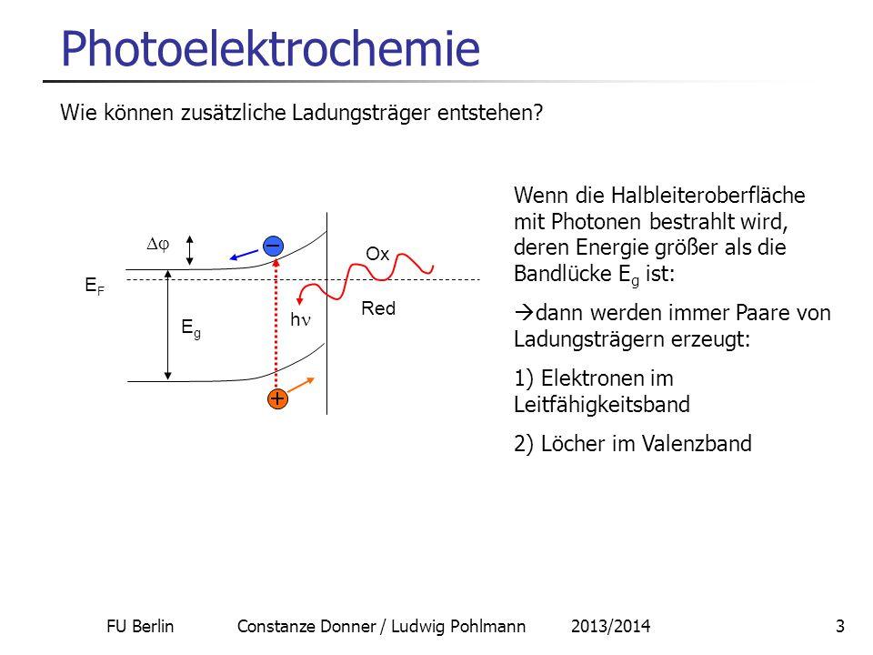 FU Berlin Constanze Donner / Ludwig Pohlmann 2013/20143 Photoelektrochemie Wie können zusätzliche Ladungsträger entstehen? Wenn die Halbleiteroberfläc