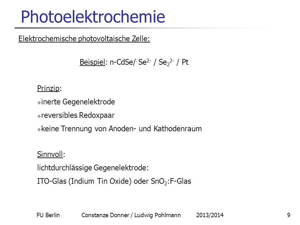 FU Berlin Constanze Donner / Ludwig Pohlmann 2013/20149 Photoelektrochemie Elektrochemische photovoltaische Zelle: Beispiel: n-CdSe/ Se 2- / Se 2 2- /