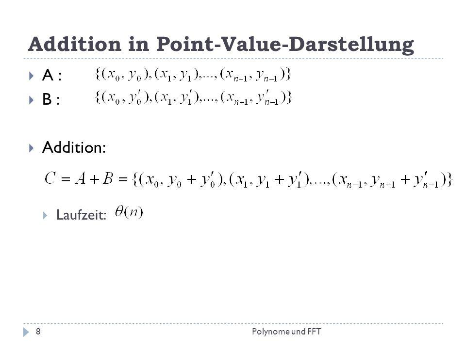 Addition in Point-Value-Darstellung A : B : Addition: Laufzeit: 8Polynome und FFT
