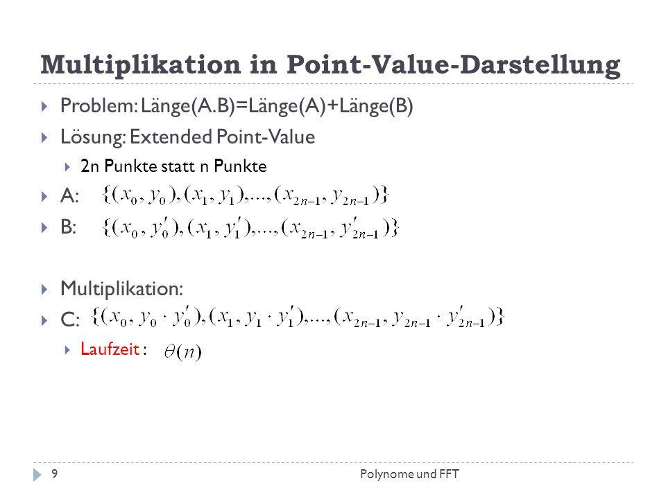 Multiplikation in Point-Value-Darstellung Problem: Länge(A.B)=Länge(A)+Länge(B) Lösung: Extended Point-Value 2n Punkte statt n Punkte A: B: Multiplika