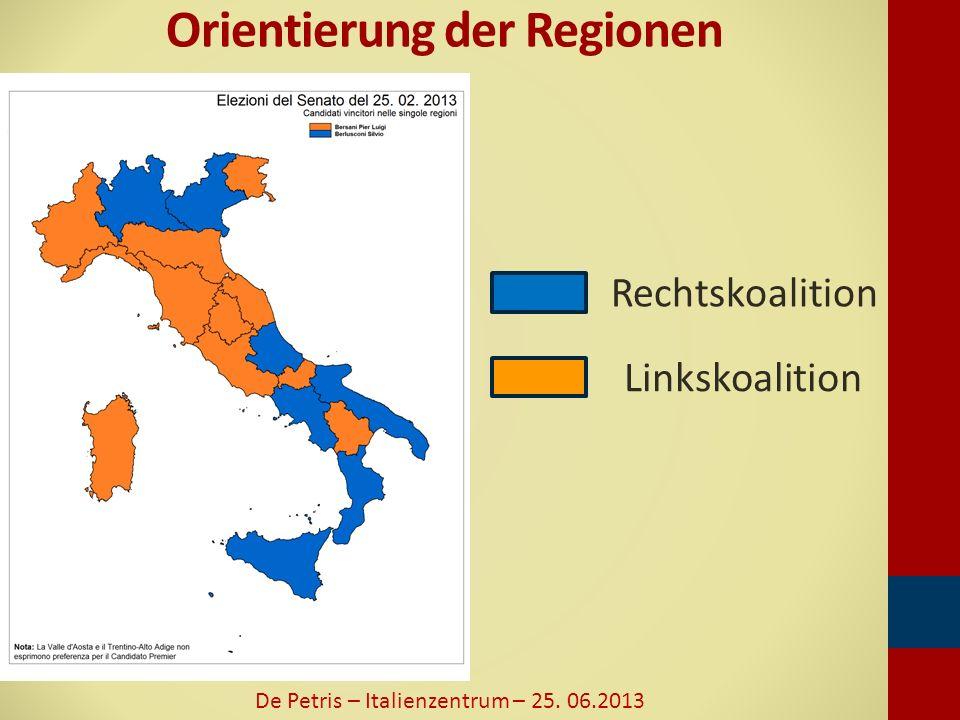 Orientierung der Regionen De Petris – Italienzentrum – 25. 06.2013 Rechtskoalition Linkskoalition