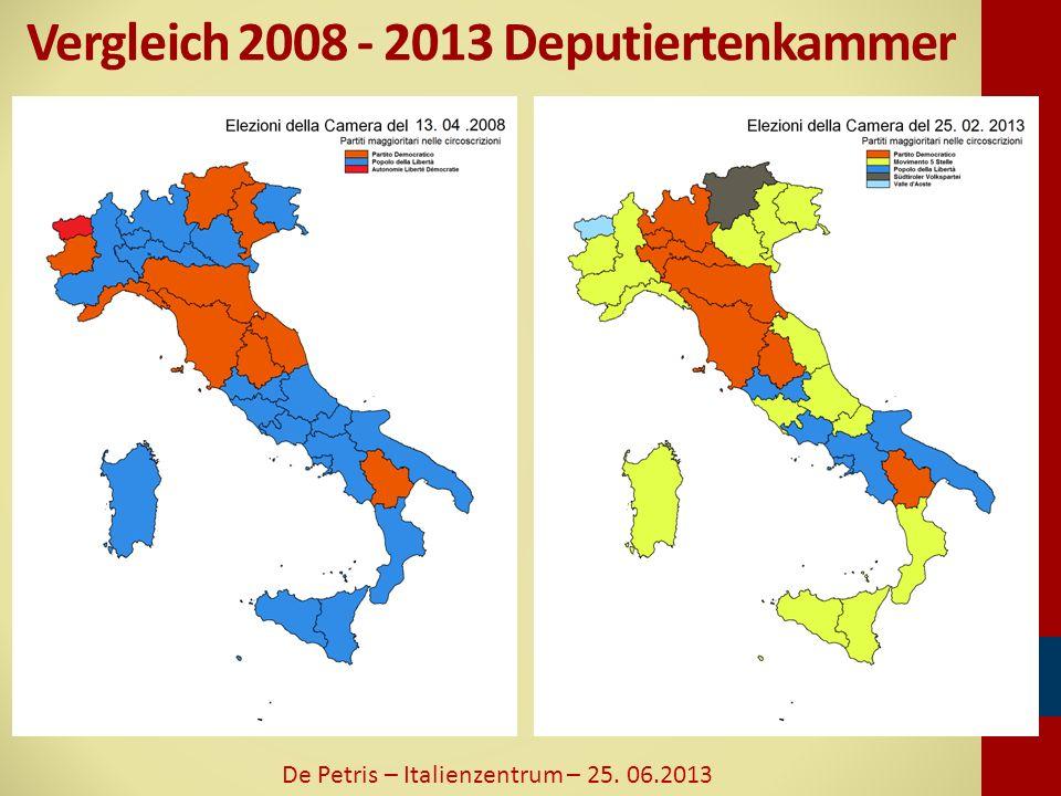 Vergleich 2008 - 2013 Deputiertenkammer De Petris – Italienzentrum – 25. 06.2013