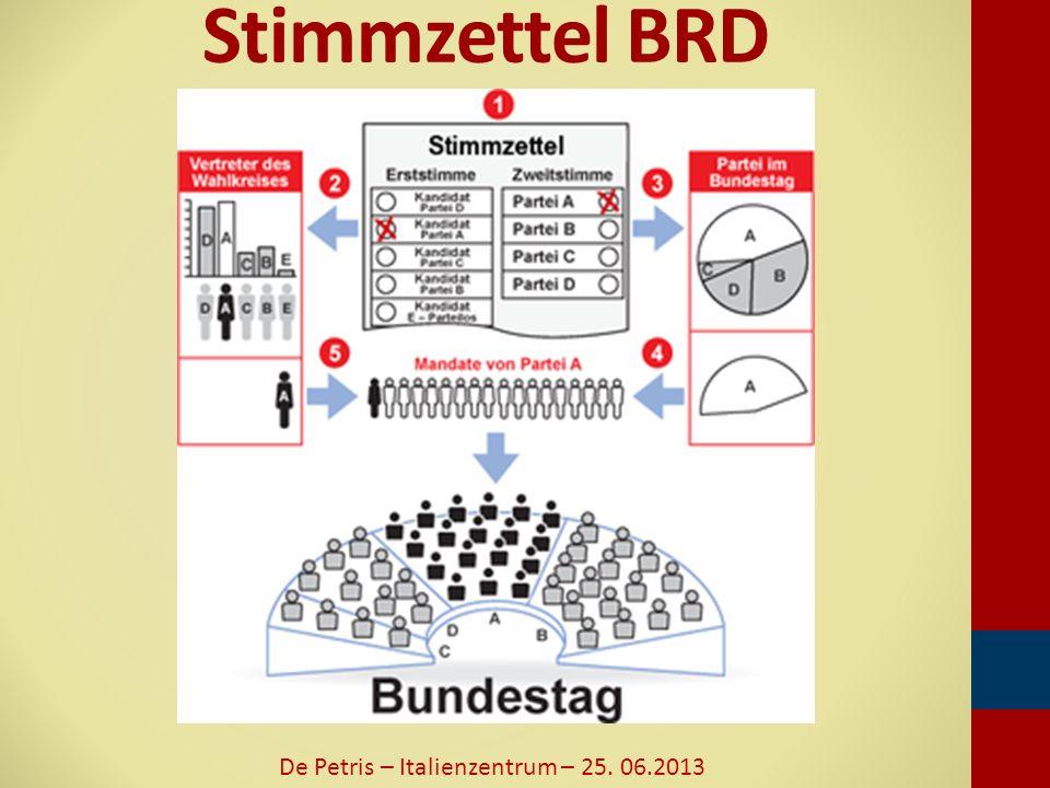 Stimmzettel BRD De Petris – Italienzentrum – 25. 06.2013