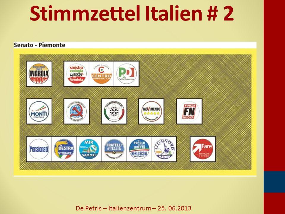 Wahlergebnisse 2008 - Deputiertenkammer De Petris – Italienzentrum – 25. 06.2013