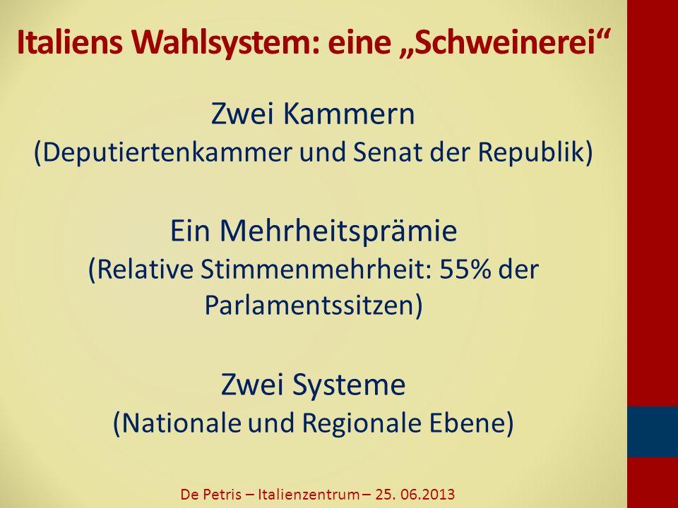 Wahlergebnisse 2013 - Deputiertenkammer De Petris – Italienzentrum – 25. 06.2013