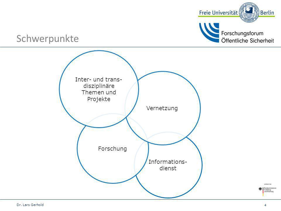 4 Schwerpunkte Dr. Lars Gerhold Informations- dienst Forschung Vernetzung Inter- und trans- disziplinäre Themen und Projekte