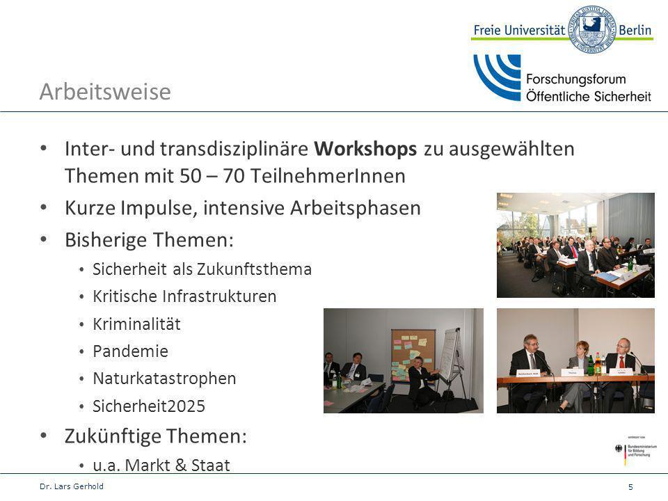 5 Arbeitsweise Inter- und transdisziplinäre Workshops zu ausgewählten Themen mit 50 – 70 TeilnehmerInnen Kurze Impulse, intensive Arbeitsphasen Bisher