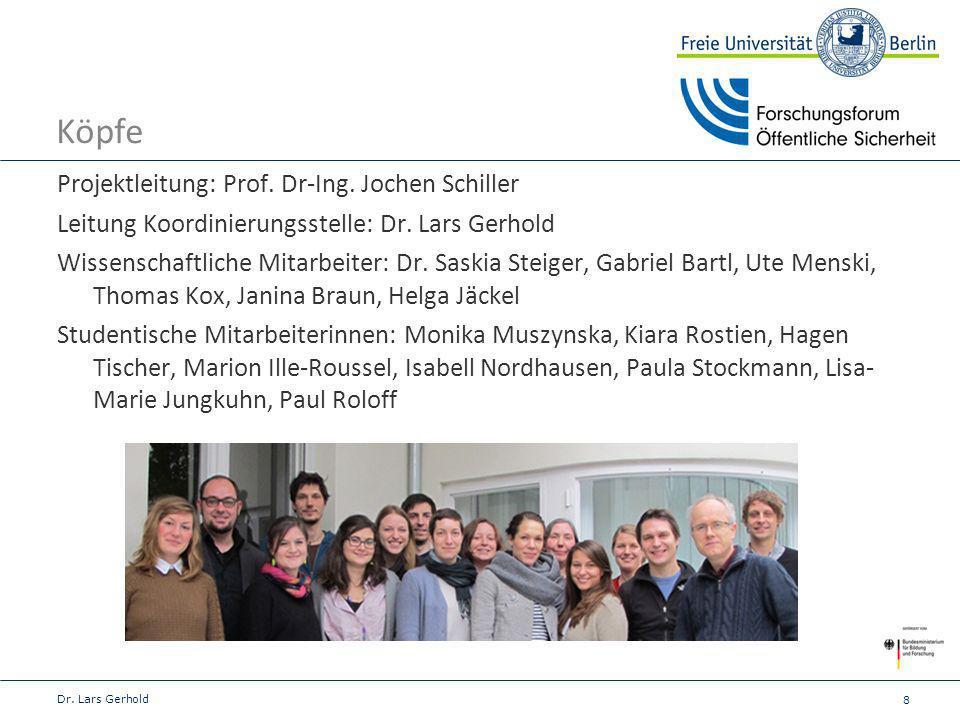 8 Köpfe Dr. Lars Gerhold Projektleitung: Prof. Dr-Ing. Jochen Schiller Leitung Koordinierungsstelle: Dr. Lars Gerhold Wissenschaftliche Mitarbeiter: D