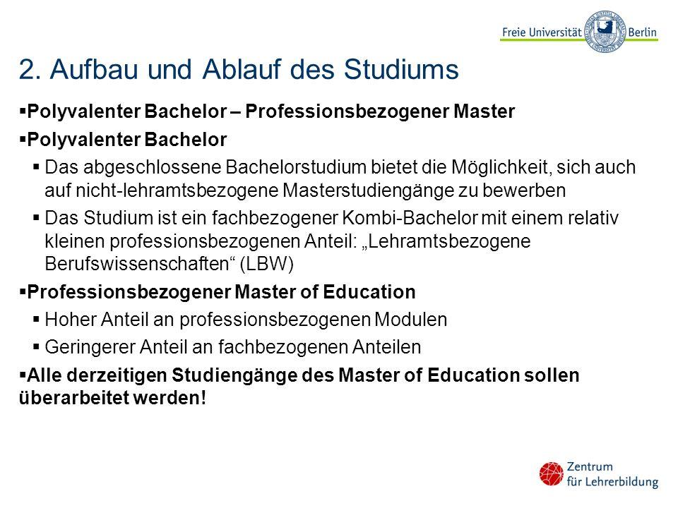 2. Aufbau und Ablauf des Studiums Polyvalenter Bachelor – Professionsbezogener Master Polyvalenter Bachelor Das abgeschlossene Bachelorstudium bietet