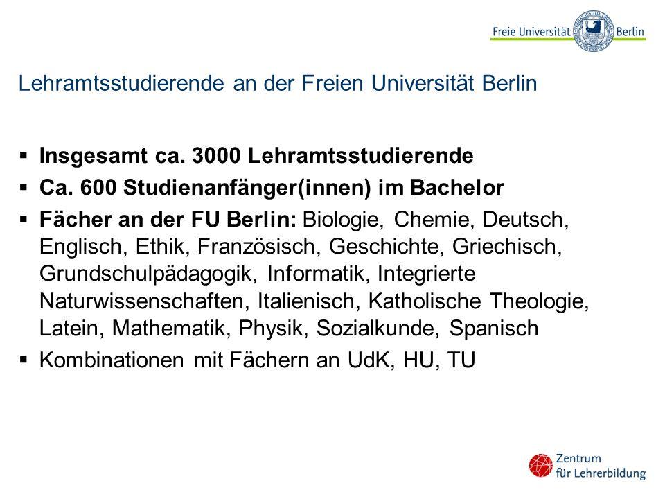 Lehramtsstudierende an der Freien Universität Berlin Insgesamt ca. 3000 Lehramtsstudierende Ca. 600 Studienanfänger(innen) im Bachelor Fächer an der F