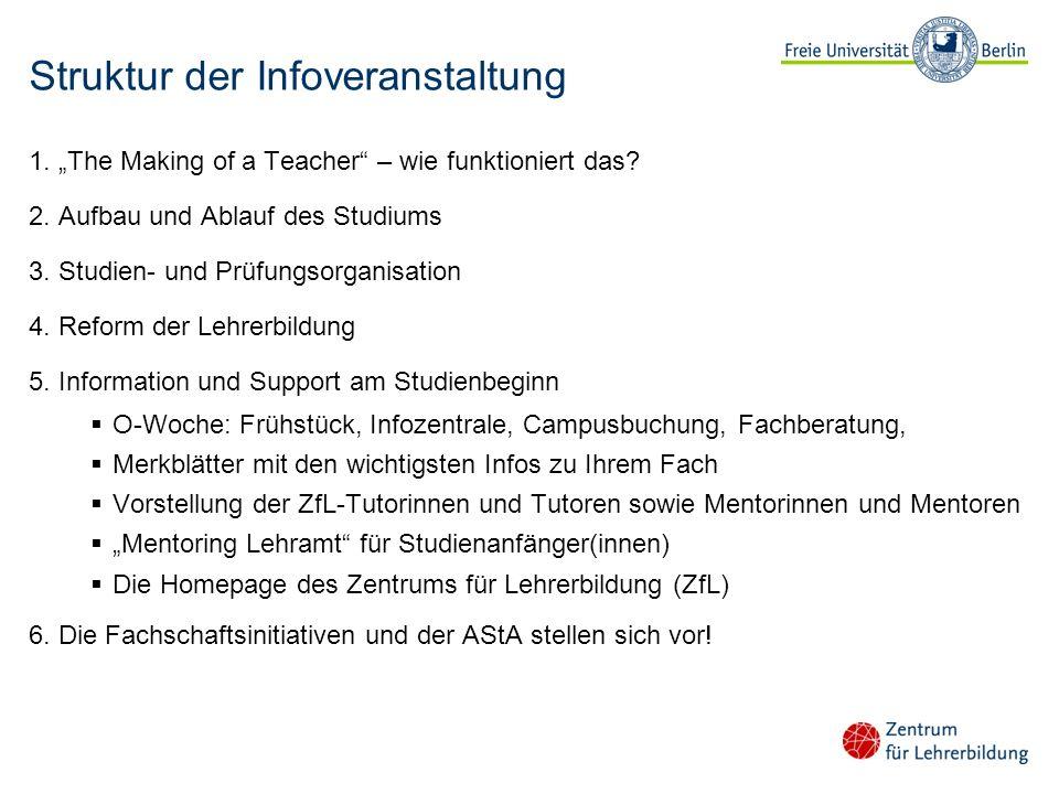 Struktur der Infoveranstaltung 1. The Making of a Teacher – wie funktioniert das? 2. Aufbau und Ablauf des Studiums 3. Studien- und Prüfungsorganisati