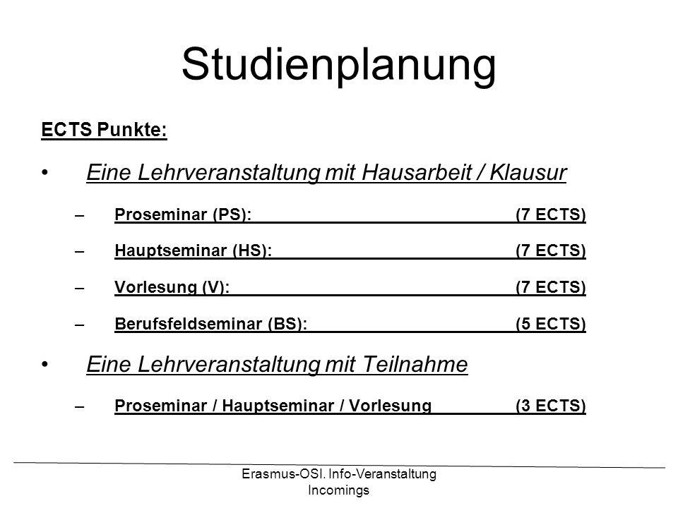 Erasmus-OSI. Info-Veranstaltung Incomings Studienplanung ECTS Punkte: Eine Lehrveranstaltung mit Hausarbeit / Klausur –Proseminar (PS):(7 ECTS) –Haupt