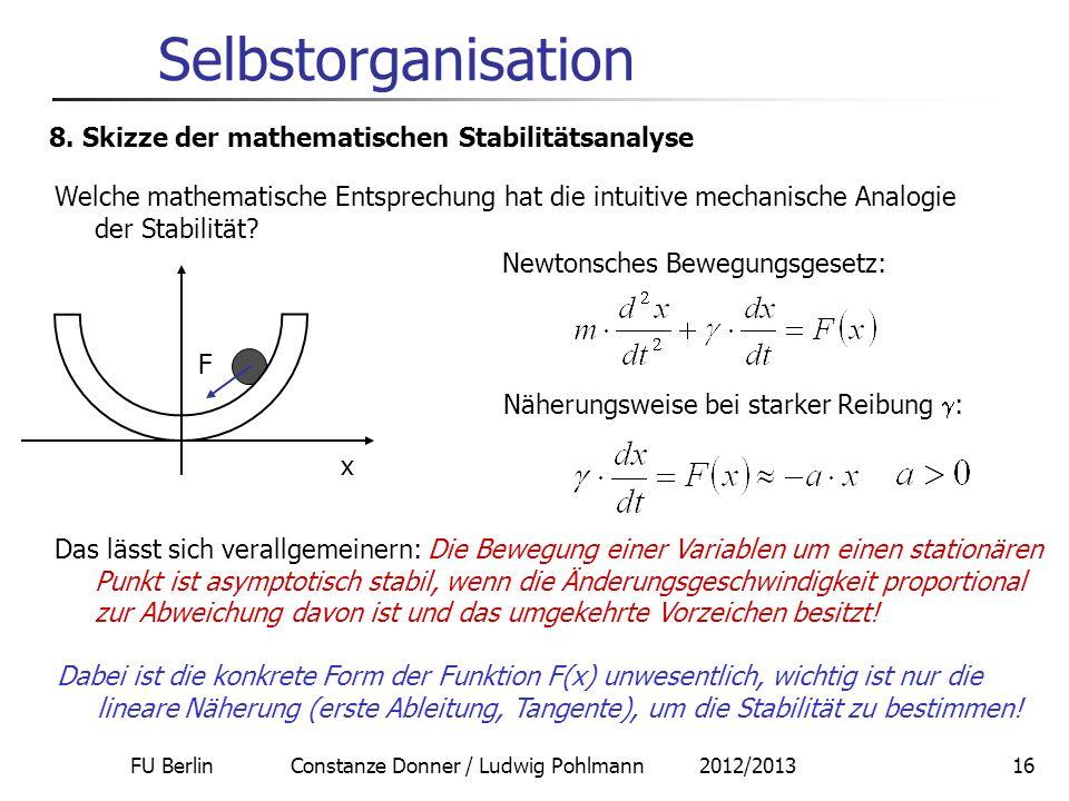 FU Berlin Constanze Donner / Ludwig Pohlmann 2012/201316 Selbstorganisation 8. Skizze der mathematischen Stabilitätsanalyse Welche mathematische Entsp