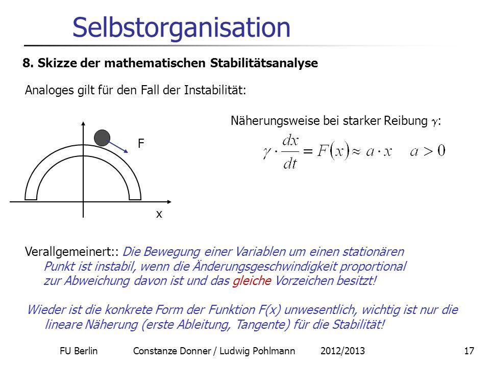 FU Berlin Constanze Donner / Ludwig Pohlmann 2012/201317 Selbstorganisation 8. Skizze der mathematischen Stabilitätsanalyse Analoges gilt für den Fall