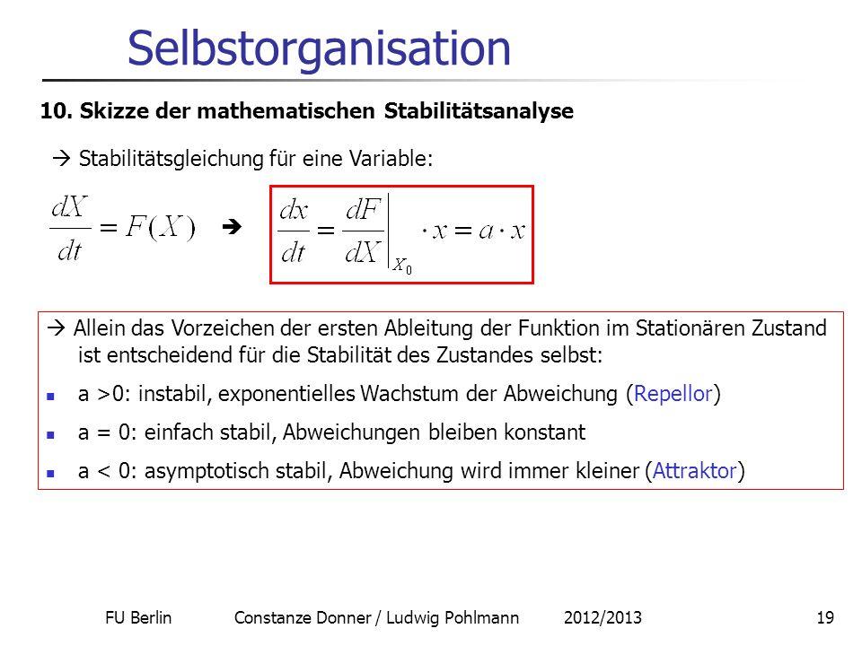 FU Berlin Constanze Donner / Ludwig Pohlmann 2012/201319 Selbstorganisation 10. Skizze der mathematischen Stabilitätsanalyse Stabilitätsgleichung für