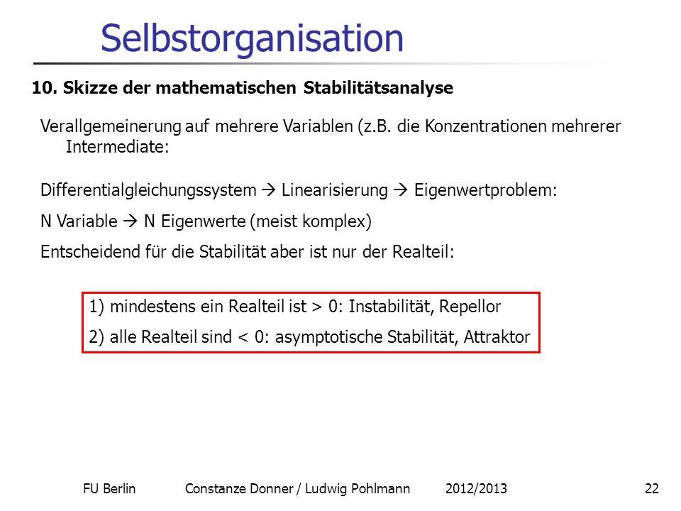 FU Berlin Constanze Donner / Ludwig Pohlmann 2012/201322 Selbstorganisation 10. Skizze der mathematischen Stabilitätsanalyse Verallgemeinerung auf meh