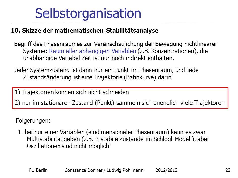 FU Berlin Constanze Donner / Ludwig Pohlmann 2012/201323 Selbstorganisation 10. Skizze der mathematischen Stabilitätsanalyse Begriff des Phasenraumes