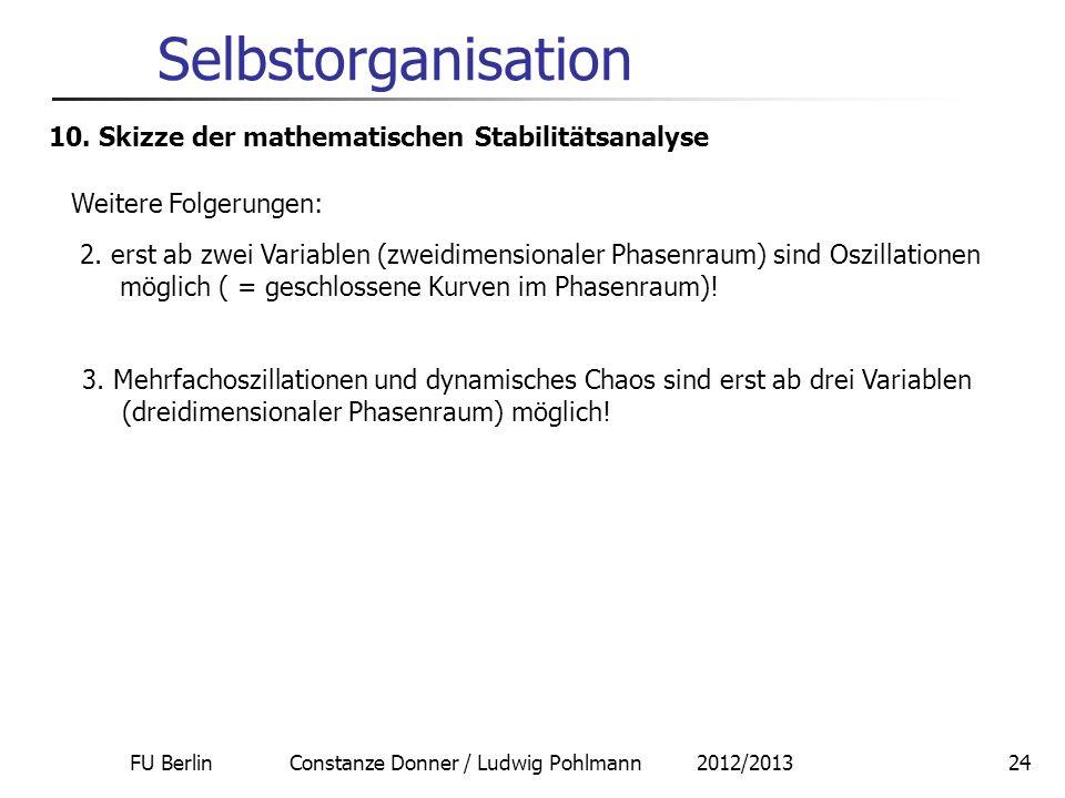 FU Berlin Constanze Donner / Ludwig Pohlmann 2012/201324 Selbstorganisation 10. Skizze der mathematischen Stabilitätsanalyse Weitere Folgerungen: 2. e