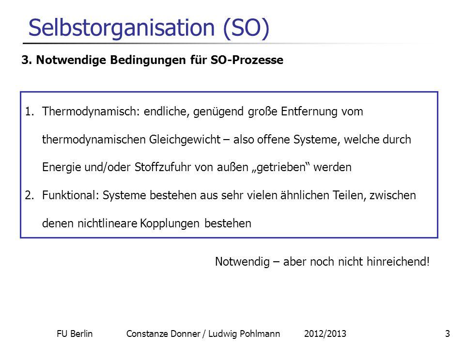 FU Berlin Constanze Donner / Ludwig Pohlmann 2012/20133 Selbstorganisation (SO) 3. Notwendige Bedingungen für SO-Prozesse 1.Thermodynamisch: endliche,