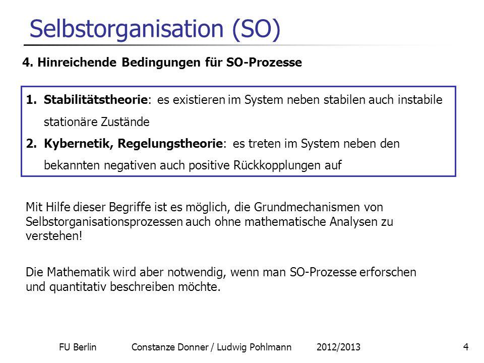 FU Berlin Constanze Donner / Ludwig Pohlmann 2012/201315 Selbstorganisation Vorläufiges Fazit: Stabilitätstheorie und Regelungstheorie (verallgemeinerte Kybernetik) bilden zwei verschiedene Aspekte von sich selbst organisierenden Systemen ab.