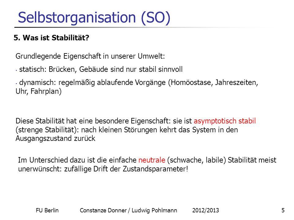 FU Berlin Constanze Donner / Ludwig Pohlmann 2012/20135 Selbstorganisation (SO) 5. Was ist Stabilität? Diese Stabilität hat eine besondere Eigenschaft