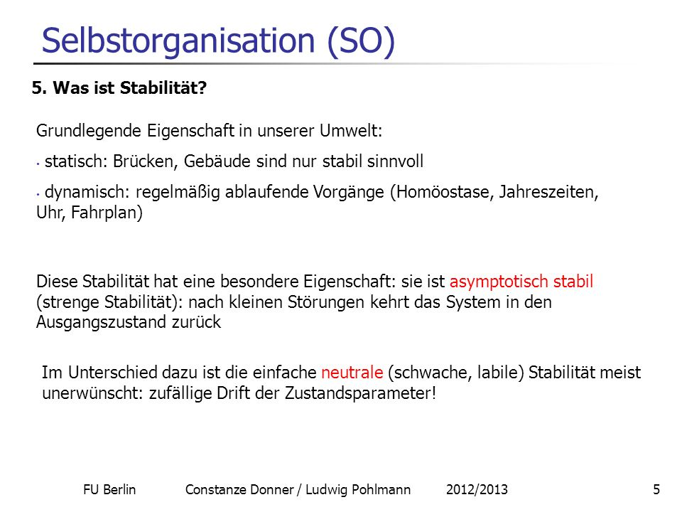 FU Berlin Constanze Donner / Ludwig Pohlmann 2012/201316 Selbstorganisation 8.