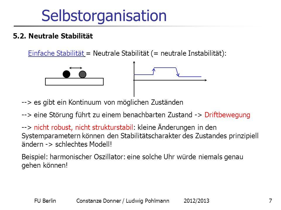 FU Berlin Constanze Donner / Ludwig Pohlmann 2012/20137 Selbstorganisation 5.2. Neutrale Stabilität Einfache Stabilität = Neutrale Stabilität (= neutr