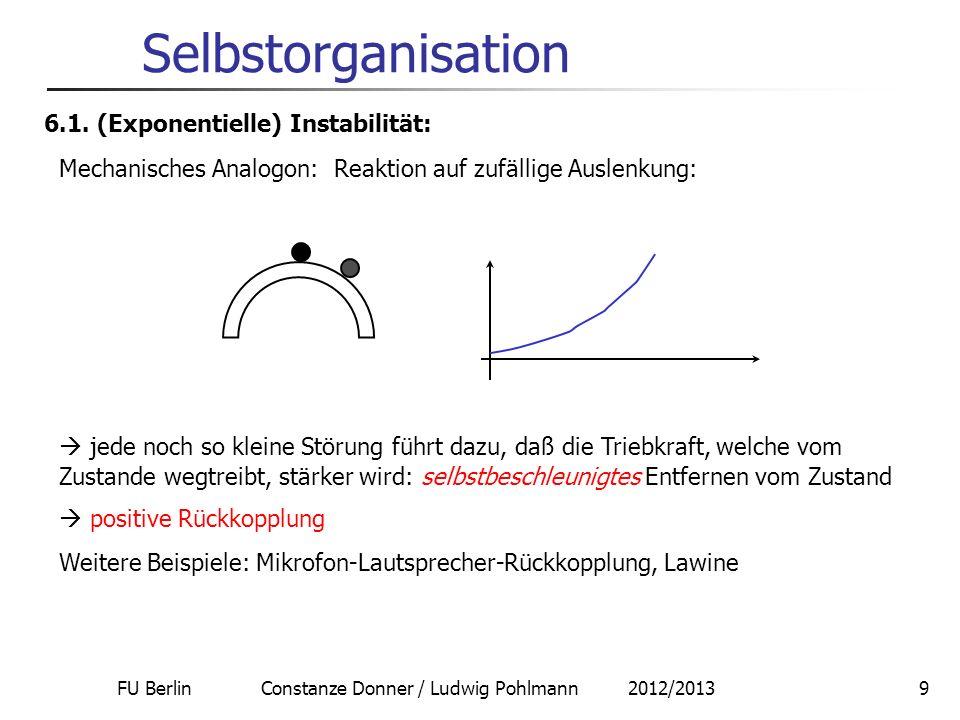 FU Berlin Constanze Donner / Ludwig Pohlmann 2012/20139 Selbstorganisation 6.1. (Exponentielle) Instabilität: jede noch so kleine Störung führt dazu,