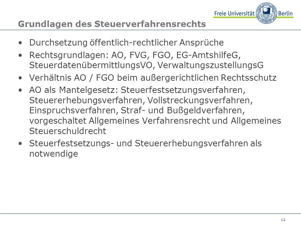 12 Grundlagen des Steuerverfahrensrechts Durchsetzung öffentlich-rechtlicher Ansprüche Rechtsgrundlagen: AO, FVG, FGO, EG-AmtshilfeG, Steuerdatenüberm