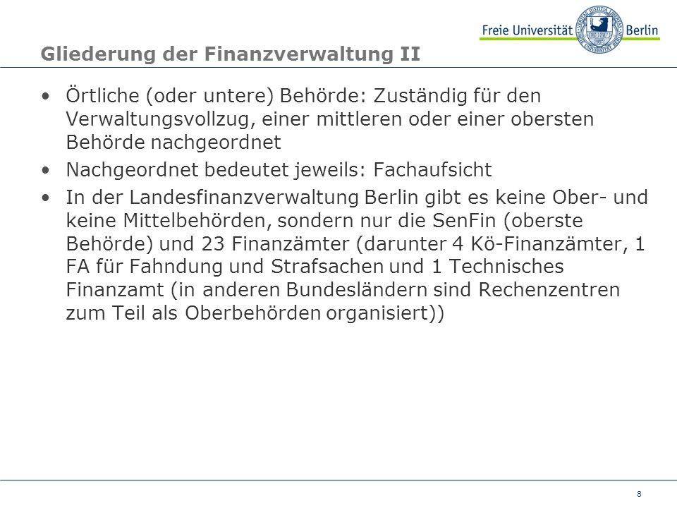 8 Gliederung der Finanzverwaltung II Örtliche (oder untere) Behörde: Zuständig für den Verwaltungsvollzug, einer mittleren oder einer obersten Behörde