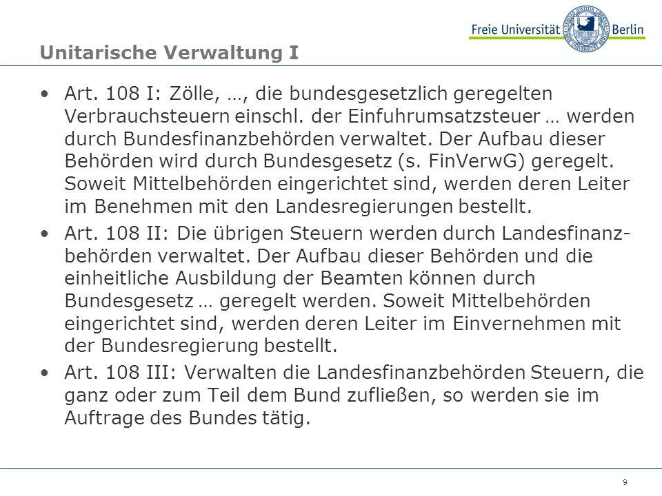 9 Unitarische Verwaltung I Art. 108 I: Zölle, …, die bundesgesetzlich geregelten Verbrauchsteuern einschl. der Einfuhrumsatzsteuer … werden durch Bund