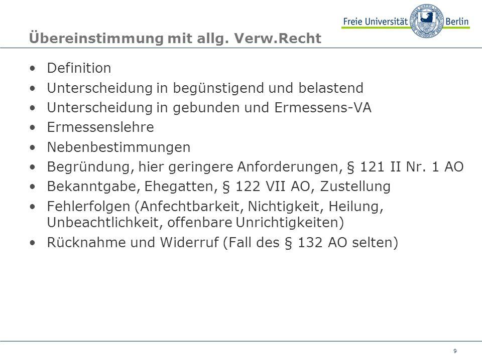 9 Übereinstimmung mit allg. Verw.Recht Definition Unterscheidung in begünstigend und belastend Unterscheidung in gebunden und Ermessens-VA Ermessensle