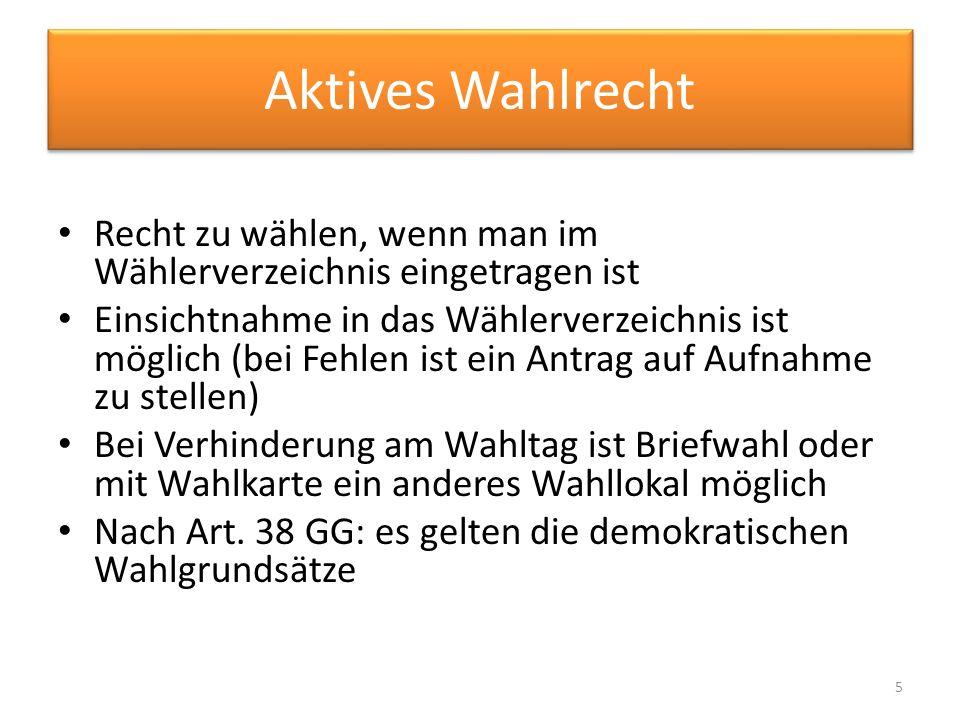 Quellen Rudzio Wolfgang,(2011), das politische System der Bundesrepublik Deutschland, 8 aktuelle Auflage, VS Verlag http://www.wahlrecht.de/lexikon/aktives- passives-wahlrecht.html#aktives-wahlrecht http://www.wahlrecht.de/lexikon/ausschluss.htm l http://www.wahlrecht.de/lexikon/erststimme.ht ml http://www.wahlrecht.de/lexikon/history.html 16