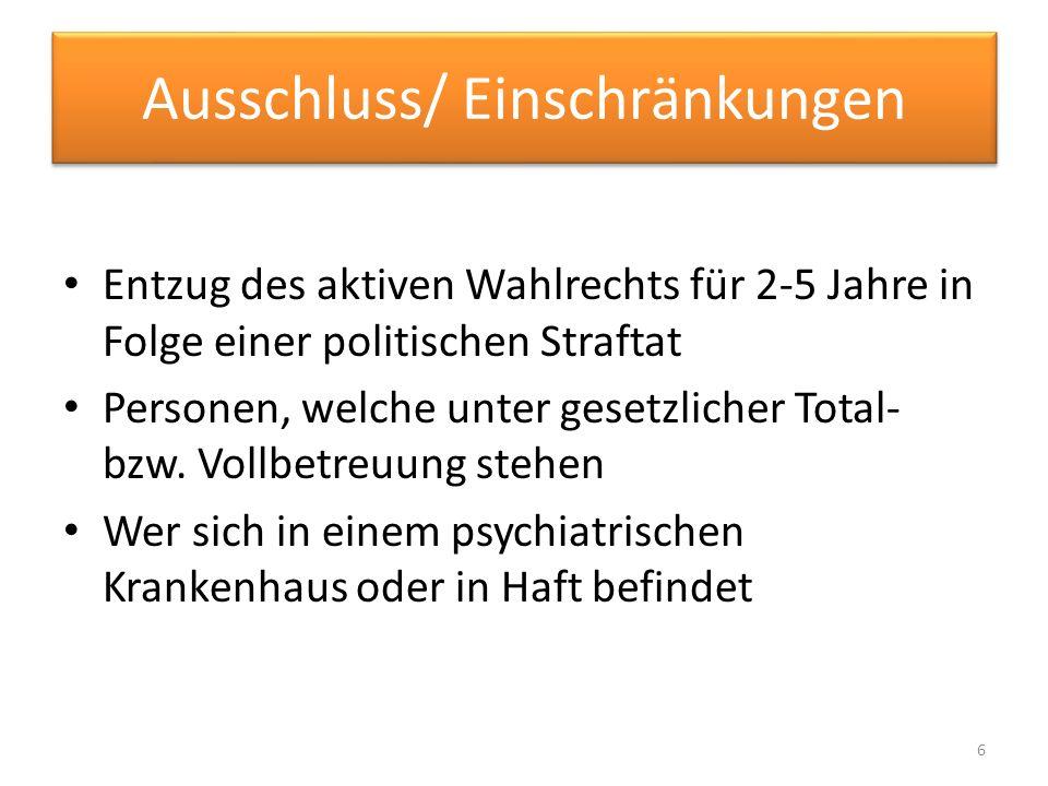Ausschluss/Einschränkung Einschränkung des geheimen Wahlgrundsatzes, wenn Menschen beim Wahlvorgang geholfen werden muss Auslandsdeutsche (am 31.1.13 beschlossene 21.