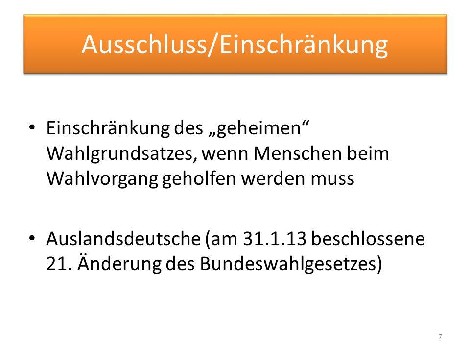 Ausschluss/Einschränkung Einschränkung des geheimen Wahlgrundsatzes, wenn Menschen beim Wahlvorgang geholfen werden muss Auslandsdeutsche (am 31.1.13
