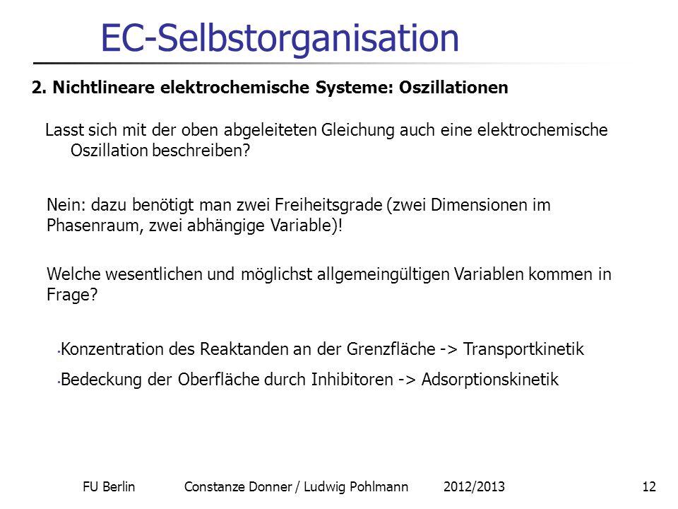 FU Berlin Constanze Donner / Ludwig Pohlmann 2012/201312 EC-Selbstorganisation 2. Nichtlineare elektrochemische Systeme: Oszillationen Lasst sich mit