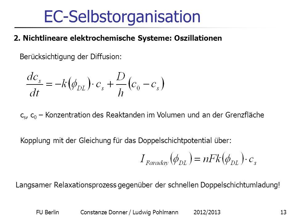 FU Berlin Constanze Donner / Ludwig Pohlmann 2012/201313 EC-Selbstorganisation 2. Nichtlineare elektrochemische Systeme: Oszillationen Berücksichtigun