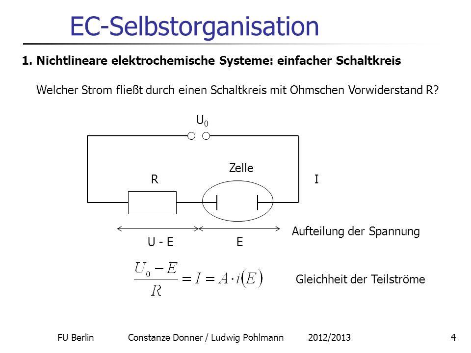 FU Berlin Constanze Donner / Ludwig Pohlmann 2012/20134 EC-Selbstorganisation 1. Nichtlineare elektrochemische Systeme: einfacher Schaltkreis Welcher