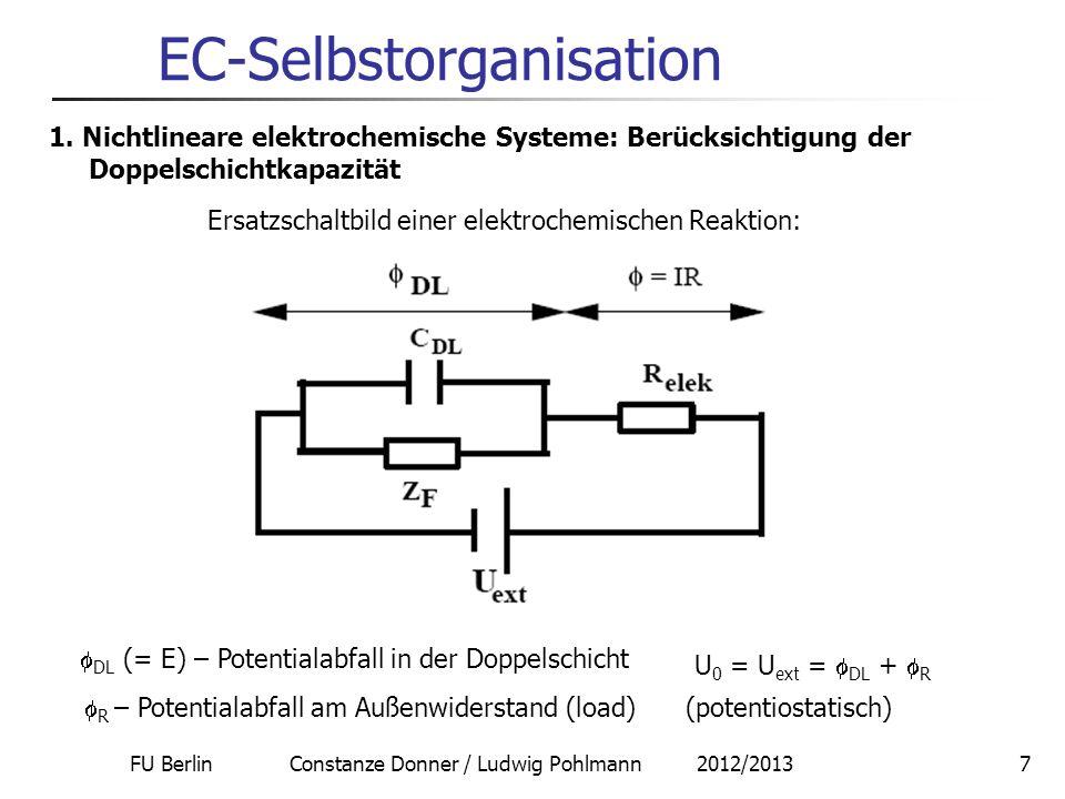 FU Berlin Constanze Donner / Ludwig Pohlmann 2012/20137 EC-Selbstorganisation 1. Nichtlineare elektrochemische Systeme: Berücksichtigung der Doppelsch