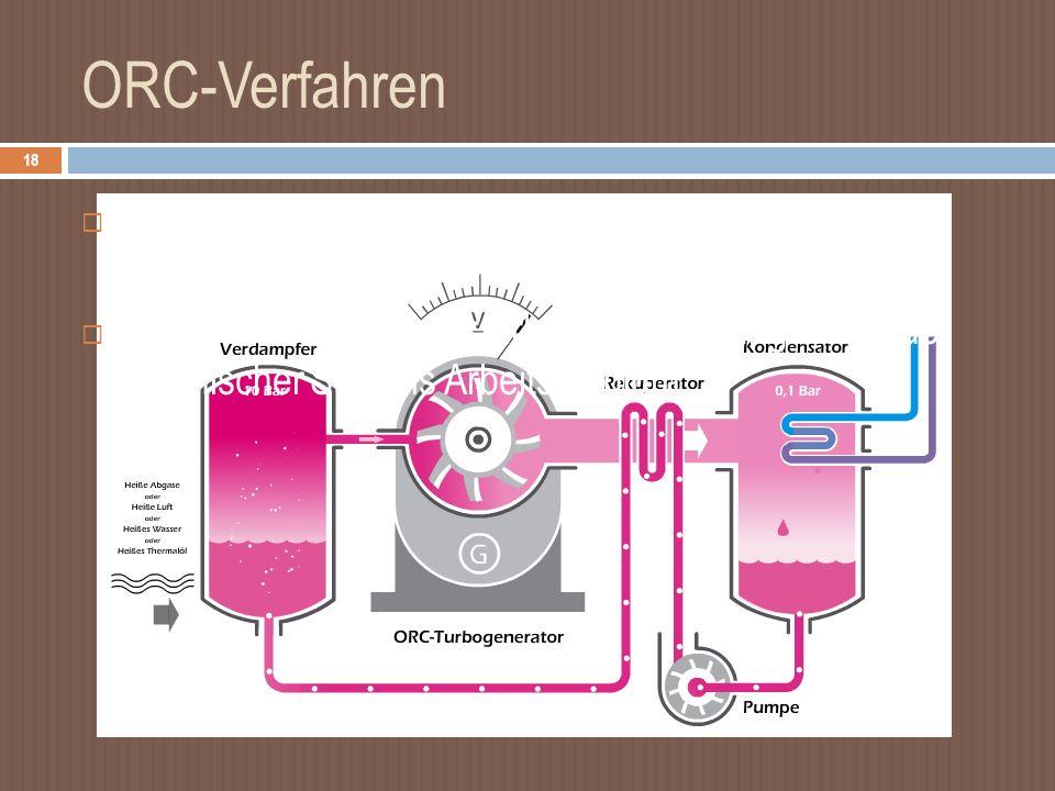 ORC-Verfahren Organic-Rankine-Cycle Organischer -Rankine- Kreisprozess Prinzip: anstatt Wasser zirkuliert ein niedrig siedender organischer Stoff als Arbeitsmedium 18