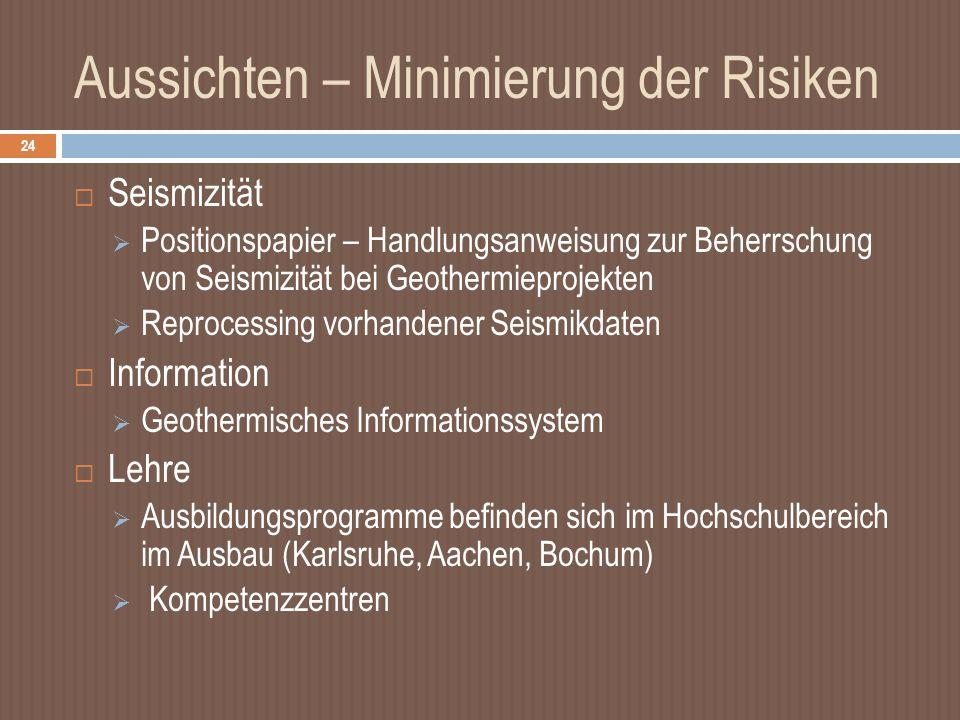 Aussichten – Minimierung der Risiken Seismizität Positionspapier – Handlungsanweisung zur Beherrschung von Seismizität bei Geothermieprojekten Reprocessing vorhandener Seismikdaten Information Geothermisches Informationssystem Lehre Ausbildungsprogramme befinden sich im Hochschulbereich im Ausbau (Karlsruhe, Aachen, Bochum) Kompetenzzentren 24