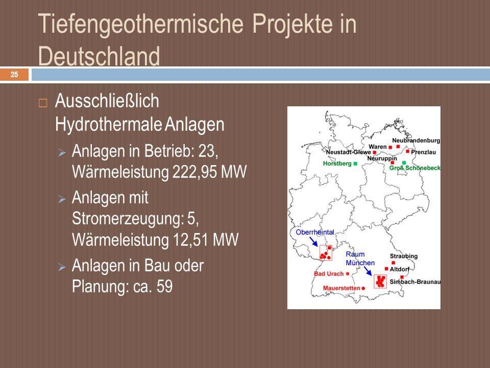 Tiefengeothermische Projekte in Deutschland Ausschließlich Hydrothermale Anlagen Anlagen in Betrieb: 23, Wärmeleistung 222,95 MW Anlagen mit Stromerzeugung: 5, Wärmeleistung 12,51 MW Anlagen in Bau oder Planung: ca.