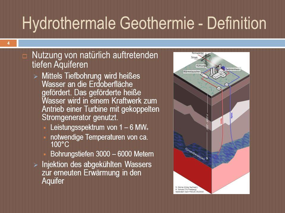 Hydrothermale Geothermie - Definition Nutzung von natürlich auftretenden tiefen Aquiferen Mittels Tiefbohrung wird heißes Wasser an die Erdoberfläche gefördert.
