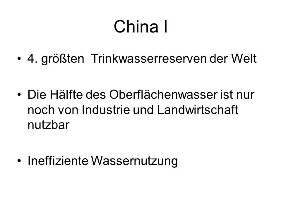 China I 4. größten Trinkwasserreserven der Welt Die Hälfte des Oberflächenwasser ist nur noch von Industrie und Landwirtschaft nutzbar Ineffiziente Wa