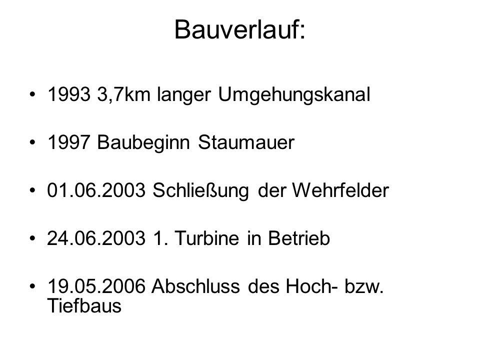Bauverlauf: 1993 3,7km langer Umgehungskanal 1997 Baubeginn Staumauer 01.06.2003 Schließung der Wehrfelder 24.06.2003 1. Turbine in Betrieb 19.05.2006