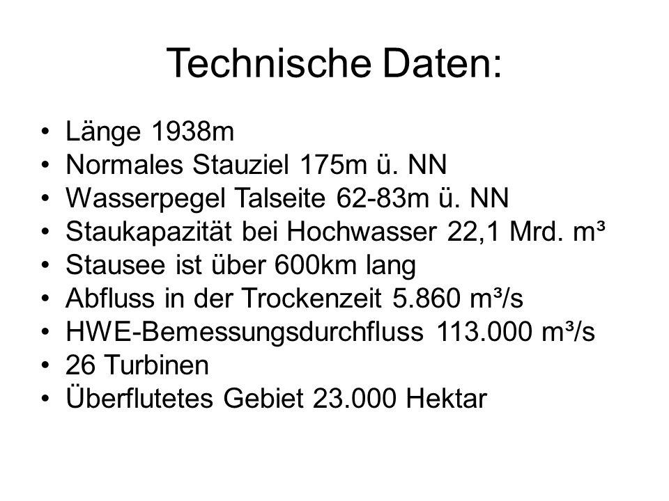 Technische Daten: Länge 1938m Normales Stauziel 175m ü. NN Wasserpegel Talseite 62-83m ü. NN Staukapazität bei Hochwasser 22,1 Mrd. m³ Stausee ist übe